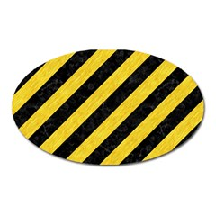 Stripes3 Black Marble & Yellow Colored Pencil (r) Oval Magnet