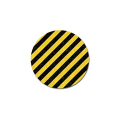 Stripes3 Black Marble & Yellow Colored Pencil (r) Golf Ball Marker