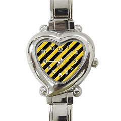 Stripes3 Black Marble & Yellow Colored Pencil (r) Heart Italian Charm Watch