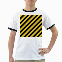 Stripes3 Black Marble & Yellow Colored Pencil (r) Ringer T Shirts