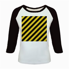 Stripes3 Black Marble & Yellow Colored Pencil (r) Kids Baseball Jerseys