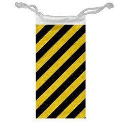 Stripes3 Black Marble & Yellow Colored Pencil (r) Jewelry Bag