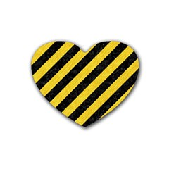 Stripes3 Black Marble & Yellow Colored Pencil (r) Rubber Coaster (heart)