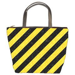 Stripes3 Black Marble & Yellow Colored Pencil (r) Bucket Bags