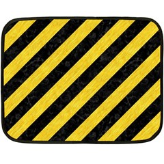 Stripes3 Black Marble & Yellow Colored Pencil (r) Double Sided Fleece Blanket (mini)