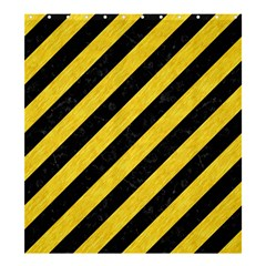 Stripes3 Black Marble & Yellow Colored Pencil (r) Shower Curtain 66  X 72  (large)