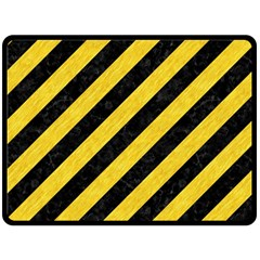 Stripes3 Black Marble & Yellow Colored Pencil (r) Fleece Blanket (large)
