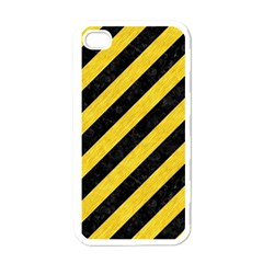 Stripes3 Black Marble & Yellow Colored Pencil (r) Apple Iphone 4 Case (white)