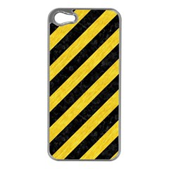 Stripes3 Black Marble & Yellow Colored Pencil (r) Apple Iphone 5 Case (silver)