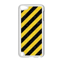 Stripes3 Black Marble & Yellow Colored Pencil (r) Apple Ipod Touch 5 Case (white)