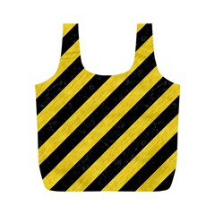 Stripes3 Black Marble & Yellow Colored Pencil (r) Full Print Recycle Bags (m)