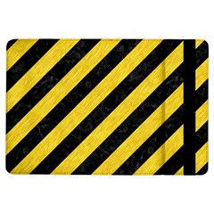 Stripes3 Black Marble & Yellow Colored Pencil (r) Ipad Air Flip