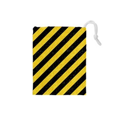 Stripes3 Black Marble & Yellow Colored Pencil (r) Drawstring Pouches (small)