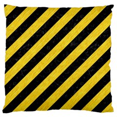 Stripes3 Black Marble & Yellow Colored Pencil (r) Large Flano Cushion Case (two Sides)