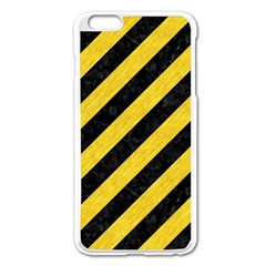 Stripes3 Black Marble & Yellow Colored Pencil (r) Apple Iphone 6 Plus/6s Plus Enamel White Case