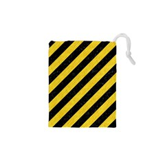 Stripes3 Black Marble & Yellow Colored Pencil (r) Drawstring Pouches (xs)
