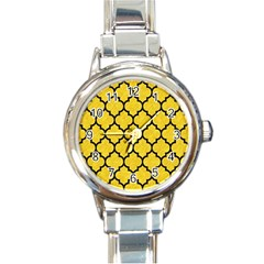 Tile1 Black Marble & Yellow Colored Pencil Round Italian Charm Watch