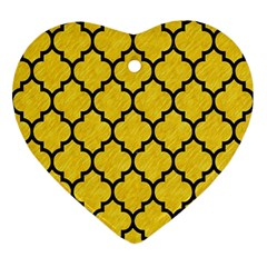 Tile1 Black Marble & Yellow Colored Pencil Ornament (heart)