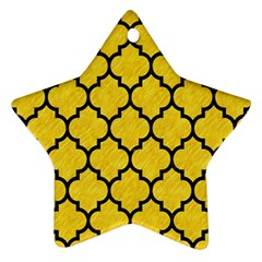 Tile1 Black Marble & Yellow Colored Pencil Star Ornament (two Sides)