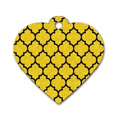 Tile1 Black Marble & Yellow Colored Pencil Dog Tag Heart (two Sides)
