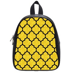 Tile1 Black Marble & Yellow Colored Pencil School Bag (small)