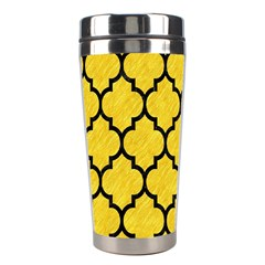 Tile1 Black Marble & Yellow Colored Pencil Stainless Steel Travel Tumblers