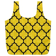 Tile1 Black Marble & Yellow Colored Pencil Full Print Recycle Bags (l)