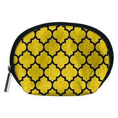 Tile1 Black Marble & Yellow Colored Pencil Accessory Pouches (medium)