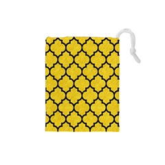 Tile1 Black Marble & Yellow Colored Pencil Drawstring Pouches (small)