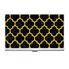 Tile1 Black Marble & Yellow Colored Pencil (r) Business Card Holders