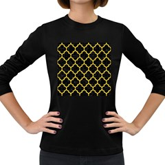 Tile1 Black Marble & Yellow Colored Pencil (r) Women s Long Sleeve Dark T Shirts