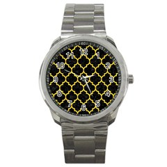 Tile1 Black Marble & Yellow Colored Pencil (r) Sport Metal Watch
