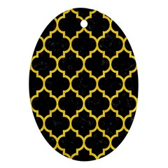 Tile1 Black Marble & Yellow Colored Pencil (r) Oval Ornament (two Sides)
