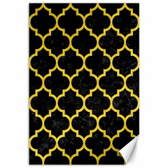 Tile1 Black Marble & Yellow Colored Pencil (r) Canvas 12  X 18