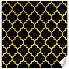 Tile1 Black Marble & Yellow Colored Pencil (r) Canvas 16  X 16