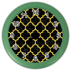 Tile1 Black Marble & Yellow Colored Pencil (r) Color Wall Clocks