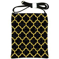 Tile1 Black Marble & Yellow Colored Pencil (r) Shoulder Sling Bags