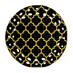 Tile1 Black Marble & Yellow Colored Pencil (r) Ornament (round Filigree)