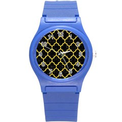 Tile1 Black Marble & Yellow Colored Pencil (r) Round Plastic Sport Watch (s)