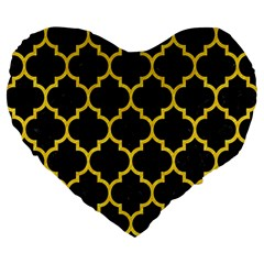 Tile1 Black Marble & Yellow Colored Pencil (r) Large 19  Premium Heart Shape Cushions