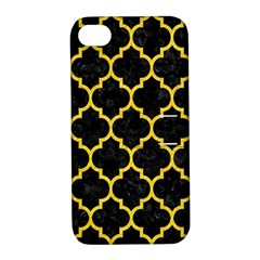Tile1 Black Marble & Yellow Colored Pencil (r) Apple Iphone 4/4s Hardshell Case With Stand