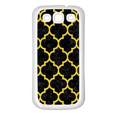 Tile1 Black Marble & Yellow Colored Pencil (r) Samsung Galaxy S3 Back Case (white)