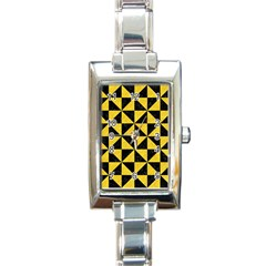 Triangle1 Black Marble & Yellow Colored Pencil Rectangle Italian Charm Watch