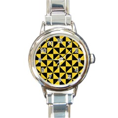 Triangle1 Black Marble & Yellow Colored Pencil Round Italian Charm Watch