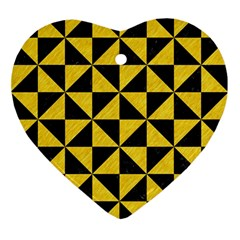 Triangle1 Black Marble & Yellow Colored Pencil Ornament (heart)