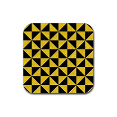 Triangle1 Black Marble & Yellow Colored Pencil Rubber Square Coaster (4 Pack)