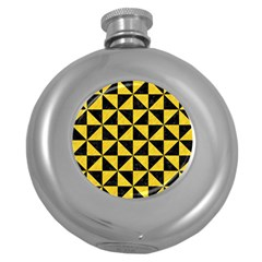 Triangle1 Black Marble & Yellow Colored Pencil Round Hip Flask (5 Oz)