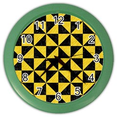 Triangle1 Black Marble & Yellow Colored Pencil Color Wall Clocks