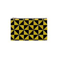 Triangle1 Black Marble & Yellow Colored Pencil Cosmetic Bag (small)