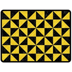 Triangle1 Black Marble & Yellow Colored Pencil Fleece Blanket (large)